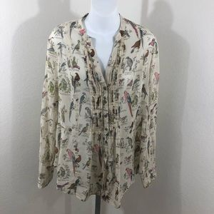 Maeve by Anthropologie Button Down Peasant Blouse